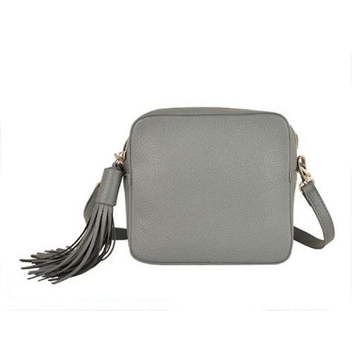 Cross Body Box Bag with Tassel - Grey
