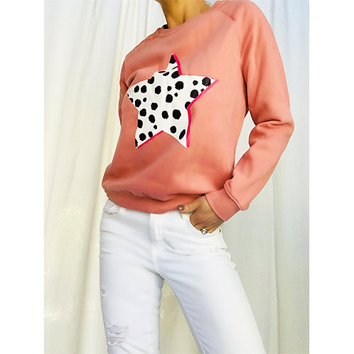 Dalmatian Print Sweatshirt -  Pink