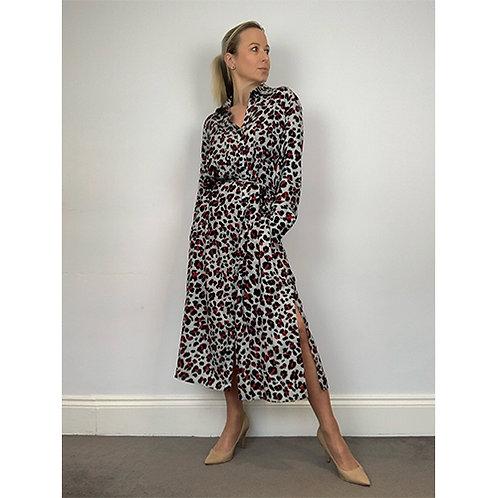 Midi Shirt Dress - Grey/Red