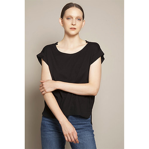 Fold Sleeve Black T-shirt