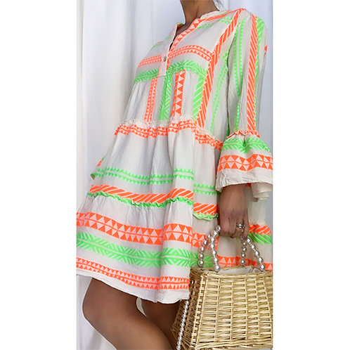 Neon Aztec Smock Dress - Orange