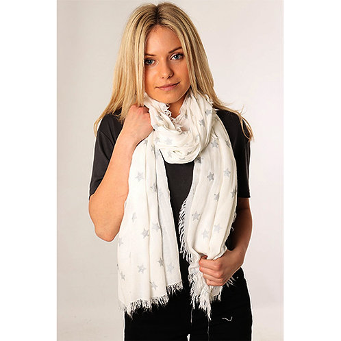 White Scarf with Silver Stars