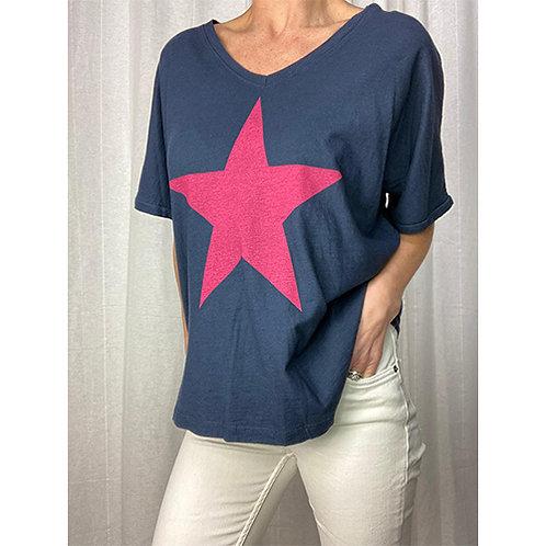 Star T-Shirt - Navy/Pink