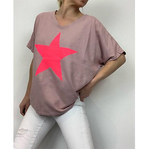 Dusty Pink Neon Star T-shirt