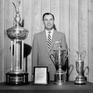 Ben Hogan with trophies