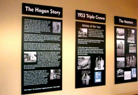 Board displays in Ben Hogan Museum