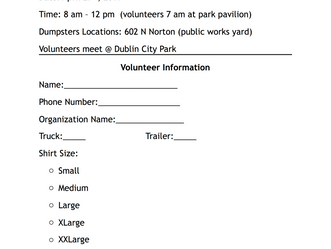 WANT TO BE A DUBLIN CLEAN VOLUNTEER? Sign up by April 12th!