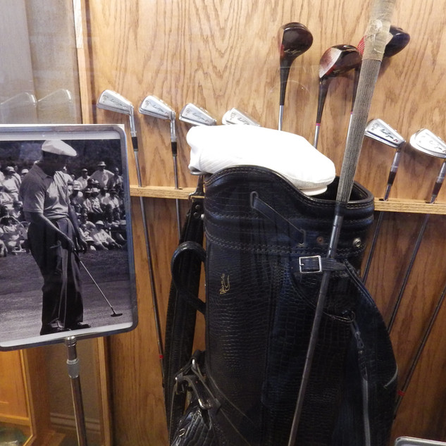 Ben Hogan photo and golf bag