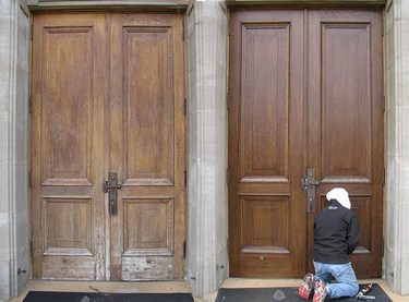 Notre Dame d'Auvergne Catholic Church, Ponteix - Doors, before and after