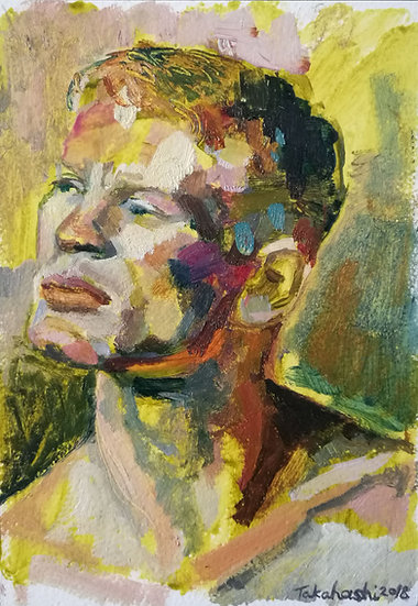 'Ben' Oil Painting Portrait on Gesso Panel by Lisa Takahashi