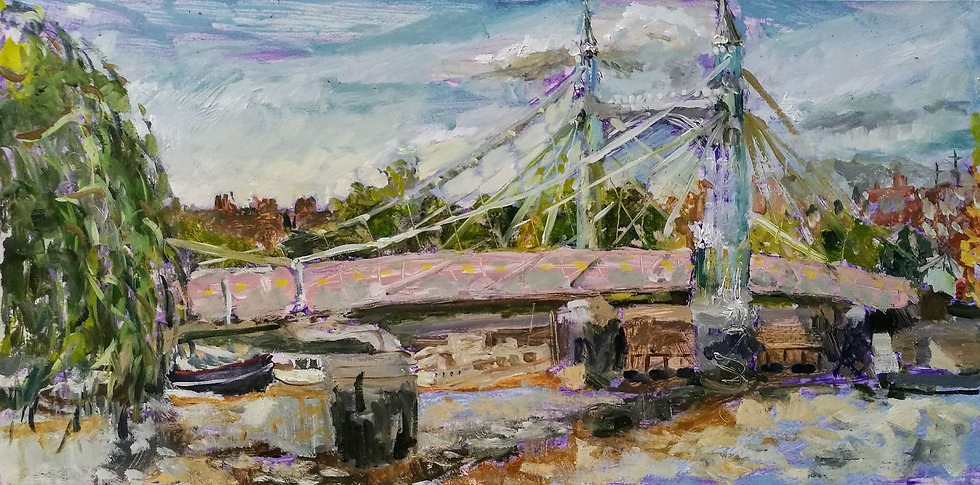 Albert Bridge landscape oil painting