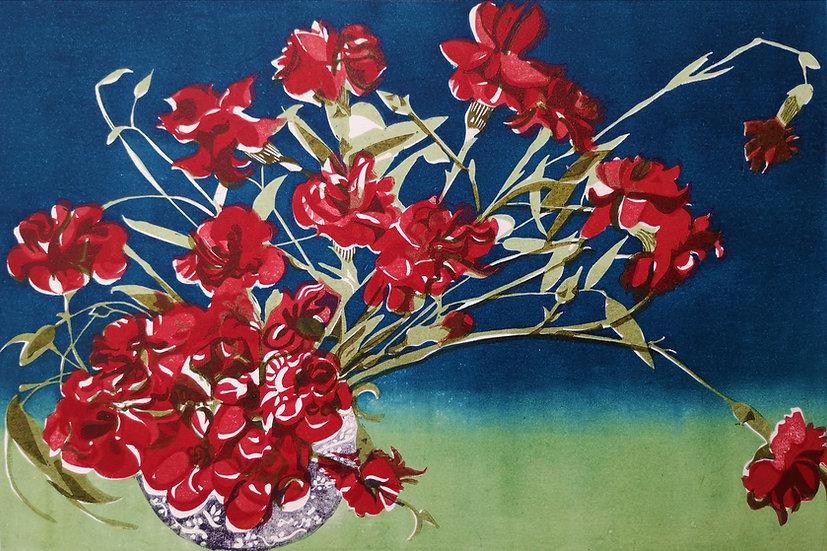 Carnations (for K.F) linocut print