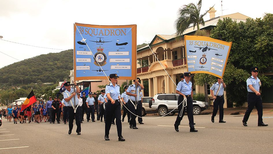 35 and 38 Sqn in parade Cooktown
