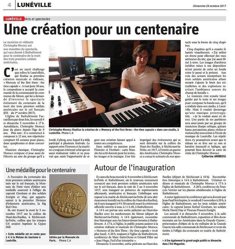 article de presse création pour un centenaire cyberpod morocz christophe realisation son et lumière