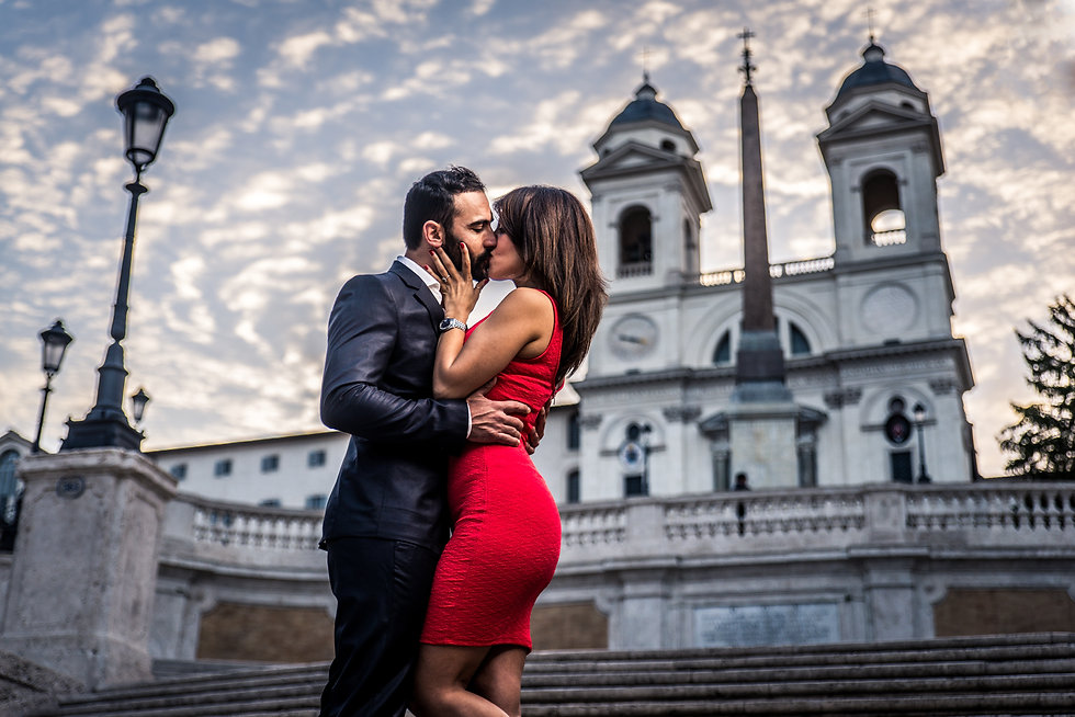 Beautiful couple dating in Rome, Italy -