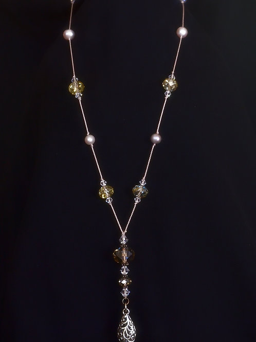 Freshwater Pearl & Crystal glass on German silk Necklace ドイツ製絹糸 淡水パールとクリスタルネックレス
