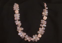 Pink Chalcedony, Pearl,Crystal glass