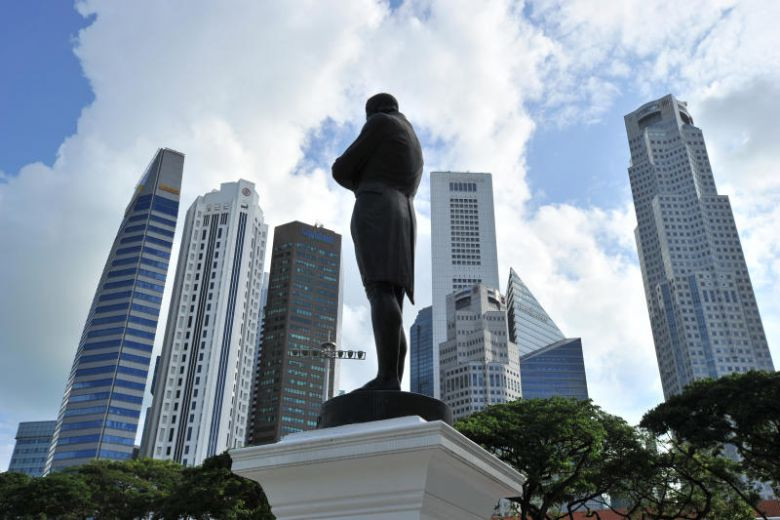 Singapore skyscapers at Battery Road, with the statue of Sir Stamford Raffles seen at the foreground.ST PHOTO: FILE