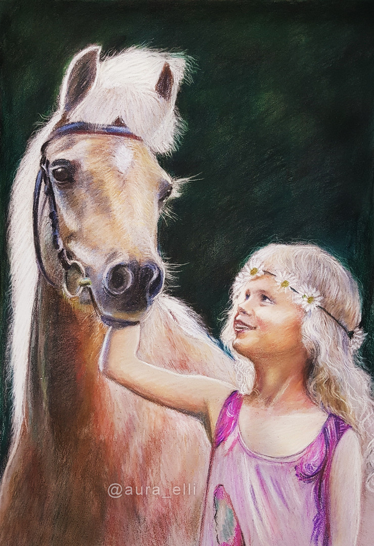 Pastel Girl & Horse