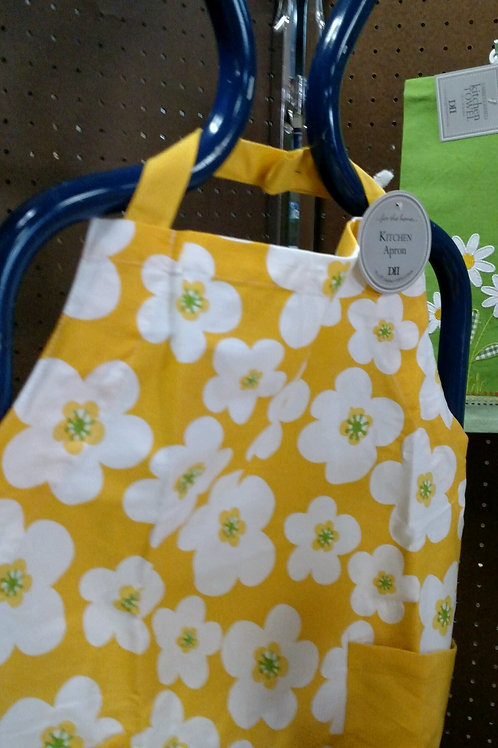 Apron Yellow with White Daisies