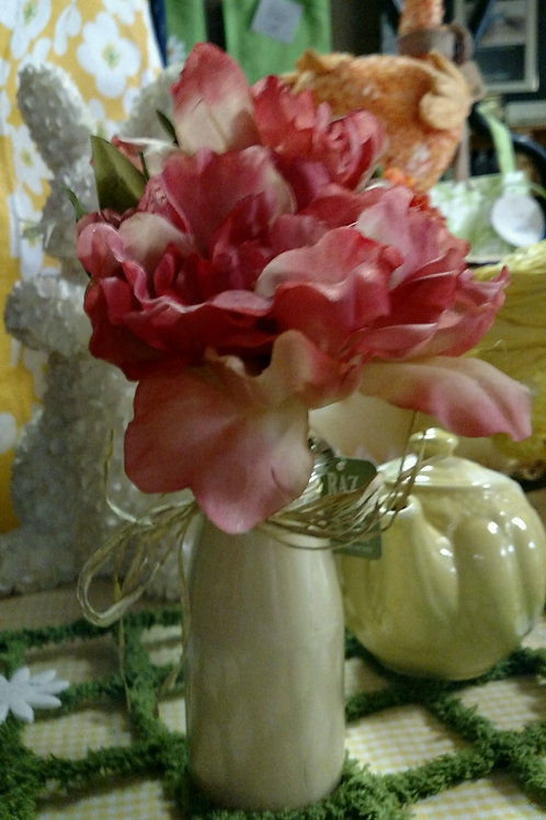 Silk Hydrangea in a Milk Cream Jar