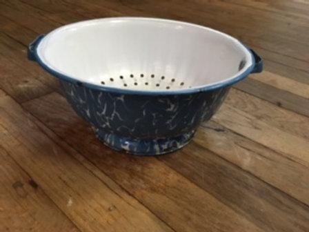 Blue Graniteware Colander