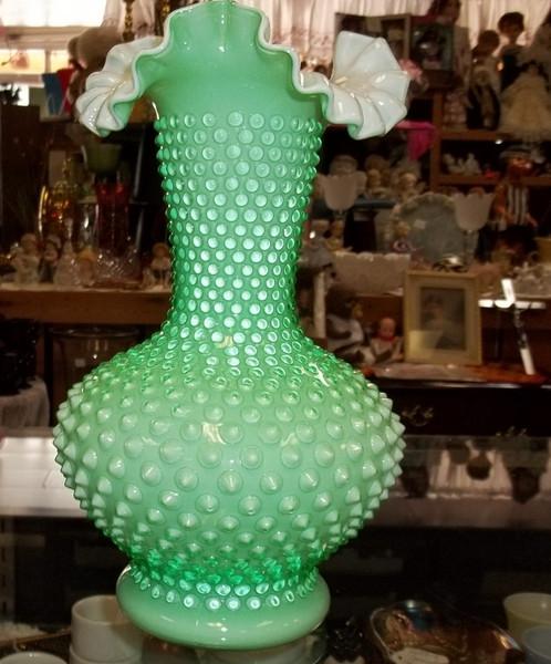 Fenton Green And White Hobnail Vase