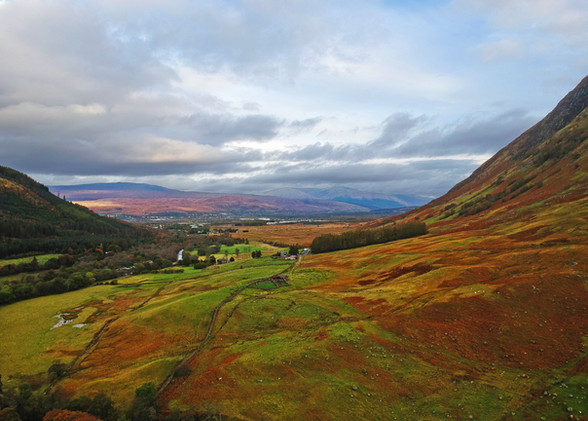 View of Scottish Valley below Ben Nevis
