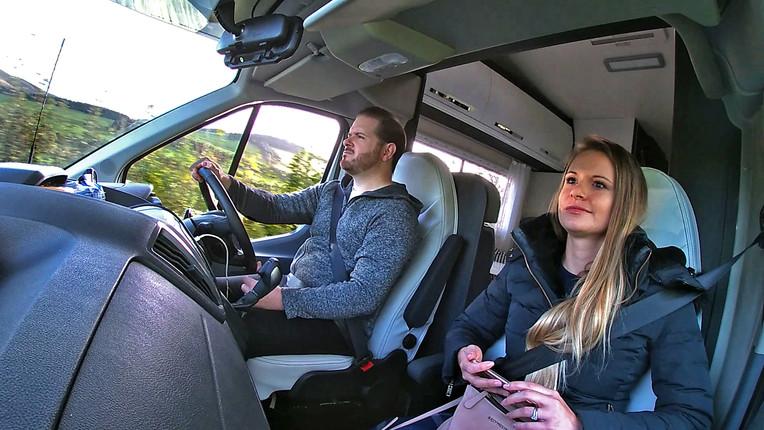 Driving view of JustGo Motorhome cockpit