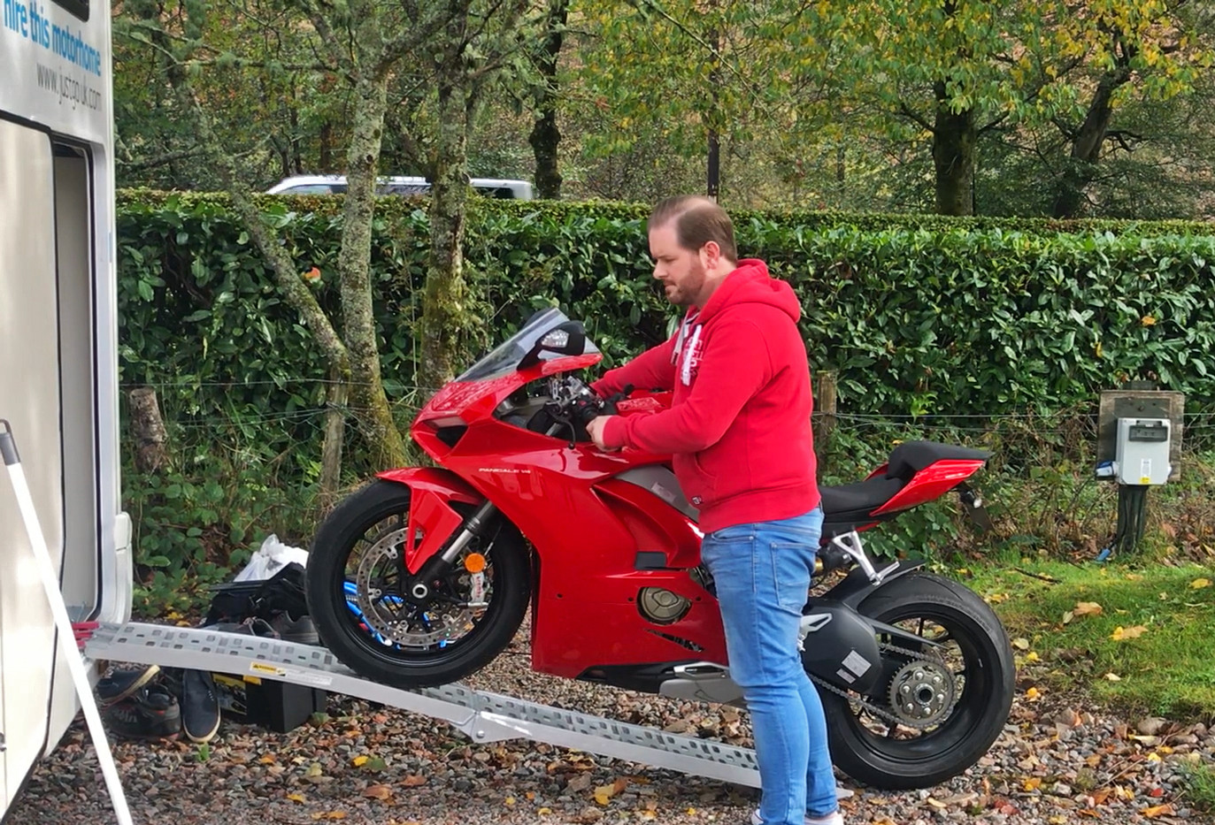 ducati transported in back of motorhome
