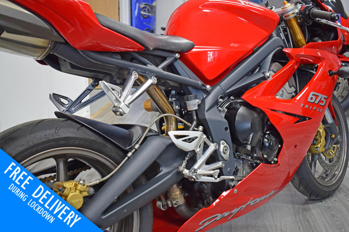 Used Triumph Daytona 675 Super Sport for sale northampton bike sanctuary right rear close.