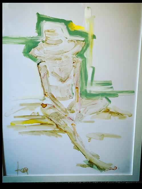 Sitting, green outline