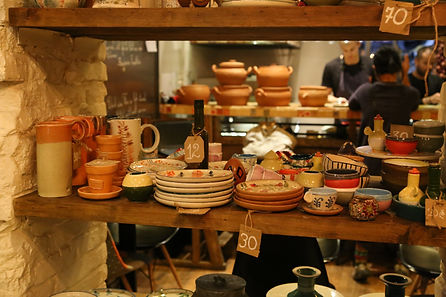 Handmade pottery at g.Vino