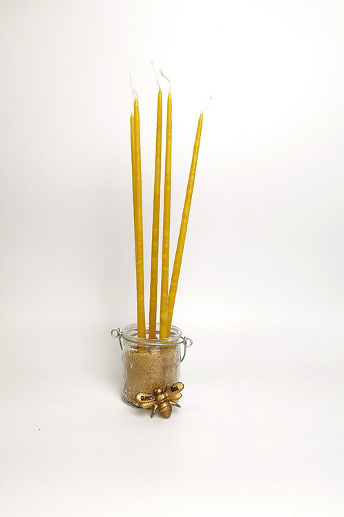 Long, hand dipped beeswax  church candles