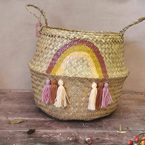 Large Rainbow Seagrass tassel Basket