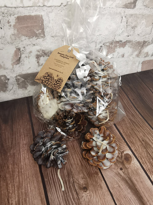 Beeswax fragranced pine cone fire lighters