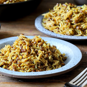 Mejadra; Caramelised onion, Lentil and Basmati Pilaf