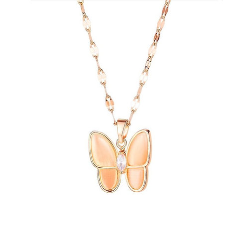 Butterfly Necklace Rose Gold