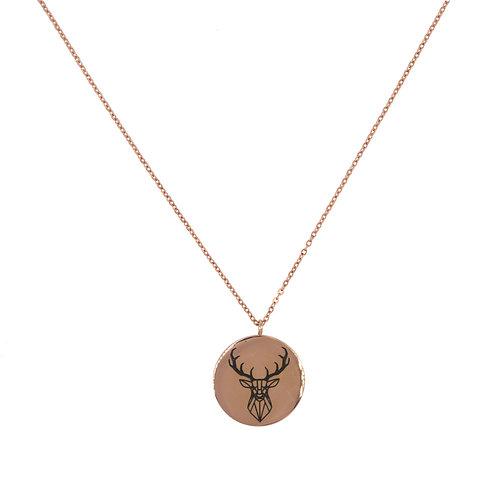 Deer Coin Necklace Rose Gold