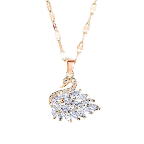 White Swan Necklace Rose Gold