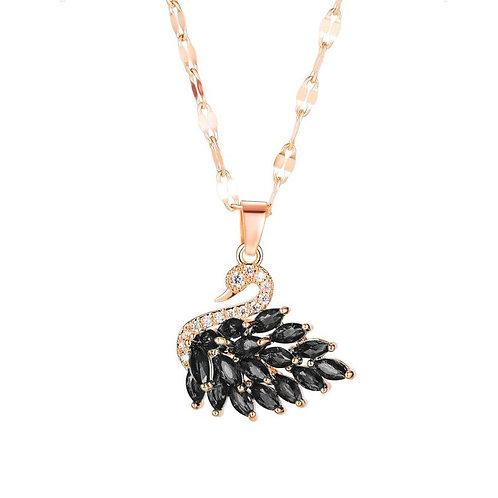 Black Swan Necklace Rose Gold