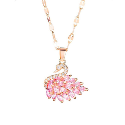 Pink Swan Necklace Rose Gold