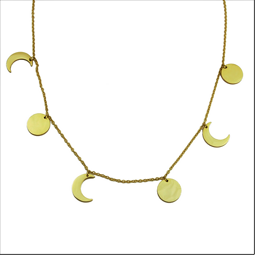 Sun and Moon Necklace Gold