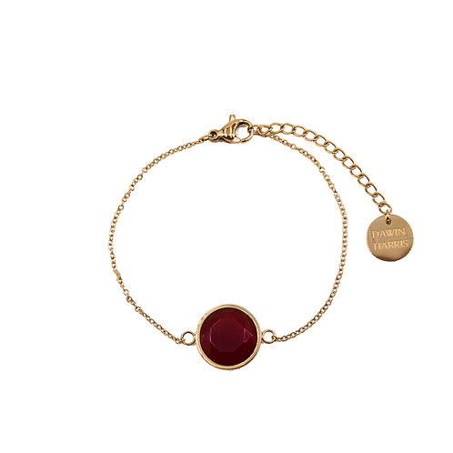 Deep Red Stone Bracelet Gold