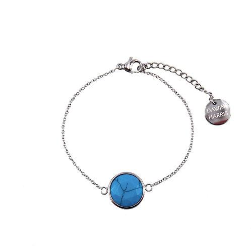 Ocean Blue Stone Bracelet Silver