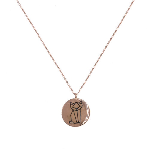 Cat Coin Necklace Rose Gold