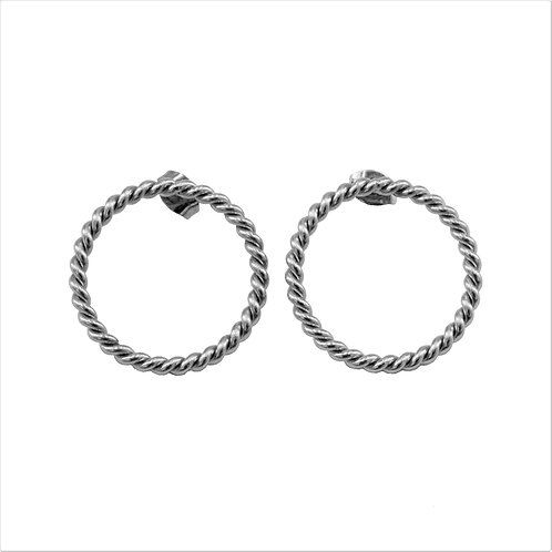 Braided Circle Earring Silver