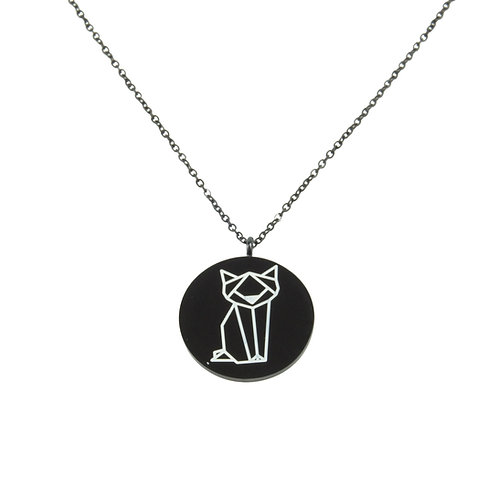 Cat Coin Necklace Black