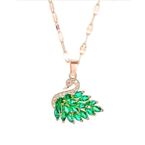 Green Swan Necklace Rose Gold