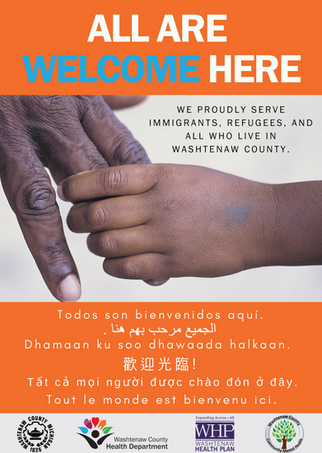 All are welcome poster in orange
